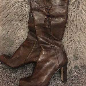 Brown knee-high heeled NINE WEST boots